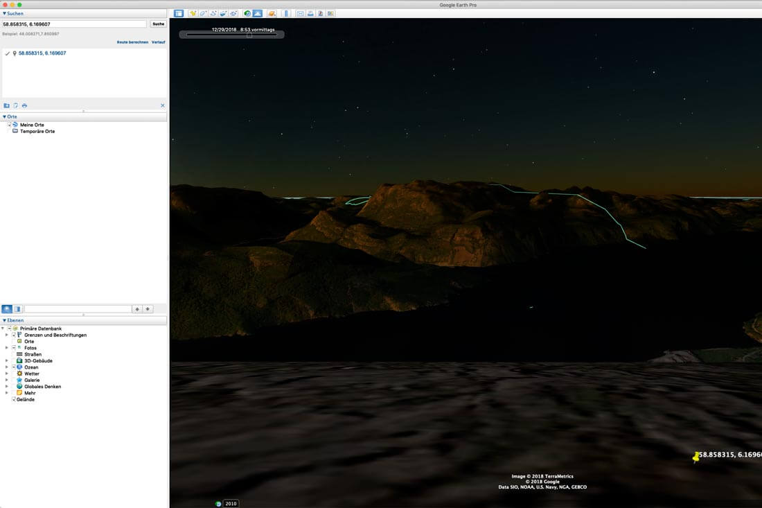 Fotolocation online finden mit Google Earth Pro